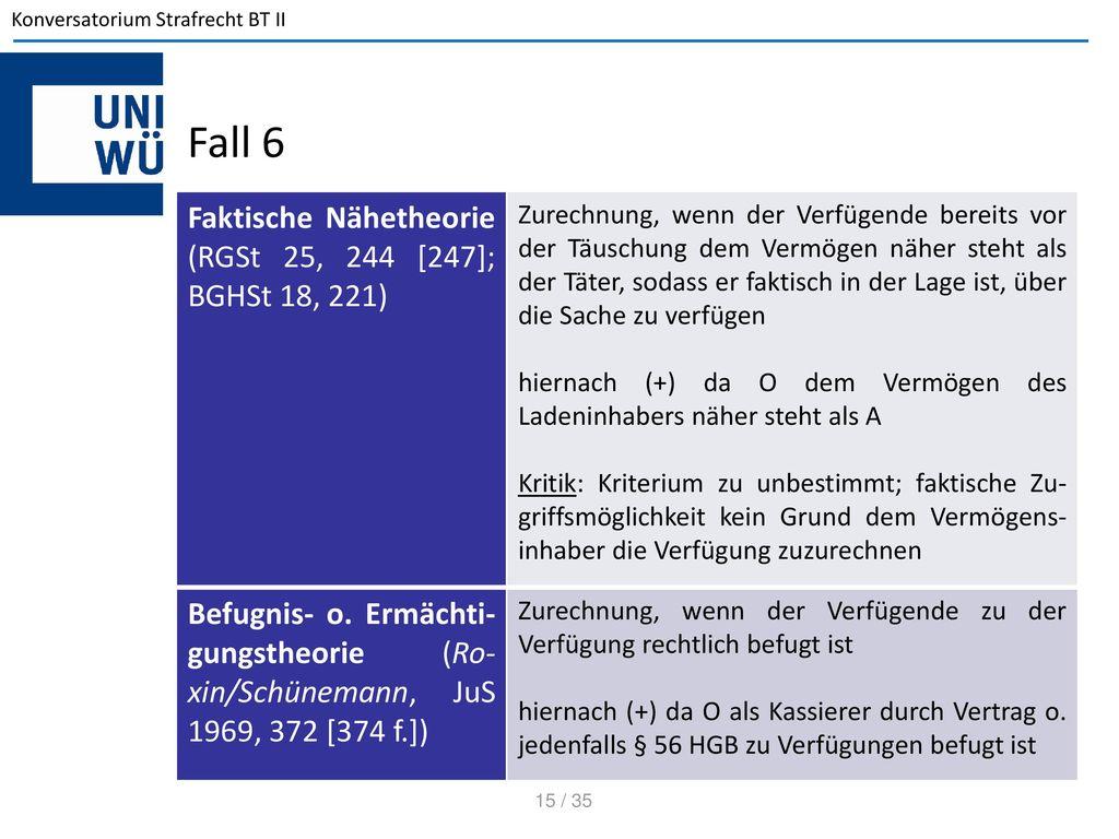 Fall 6 Faktische Nähetheorie (RGSt 25, 244 [247]; BGHSt 18, 221)